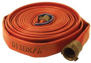 Dixon Powhatan 1 1/2 in. 500# Coupled Nitrile Covered Fire Hose w/ NH (NST) Rocker Lug Brass Couplings