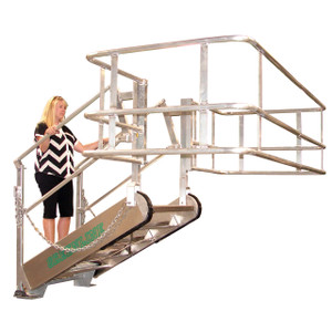 Green Aluminum Self-Leveling Stairs Gangway