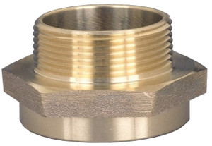 Dixon 1 1/2  in. FNYFD x 1 1/2  in. MNST (NH) Brass Female to Male Hex Nipples (Special City Threads)