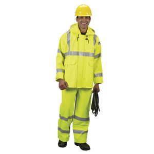 Lakeland FR/ARC Rated  32 in. L Rain Jacket w/ Hood, ANSI Class 3, Hi-Vis Yellow