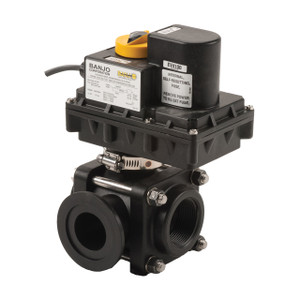 Banjo 1 1/2 in. 3-Way Side Load On/Off Electric Ball Valve
