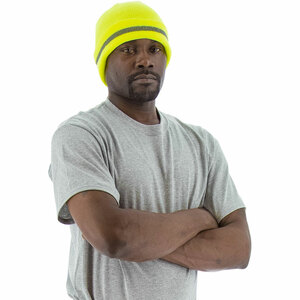 Majestic ANSI High Visibility Yellow Beanie w/ Reflective Striping