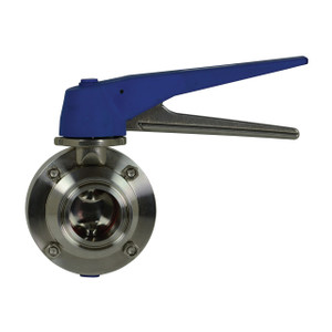Dixon B5115 Series 304 SS Trigger Handle Sanitary Butterfly Valve w/Silicone Seals & SS Disc, Clamp End