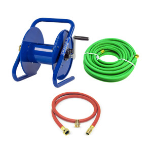 Coxreels CM Series Caddy Mount Portable Hand Crank Hose Reel w/ 150 ft. Garden Hose