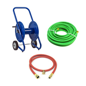 Coxreels DM Series Dolly Mount Portable Hand Crank Hose Reel w/ 150 ft. Garden Hose