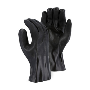 Majestic Double Dipped PVC Chemical Resistant 12 in. Gloves w/ Sand Finish & Interlock Liner - Large