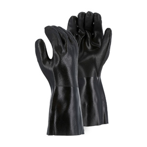 Majestic Double Dipped PVC Chemical Resistant 14 in. Gloves w/ Sand Finish & Interlock Liner - Large