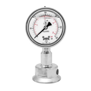 Winters PSQ Series 2 1/2 in. Dial All-Purpose Stainless Steel Sanitary Gauge w/ 3/4 in. Tri-Clamp - Bottom Mount - 0-60 PSI
