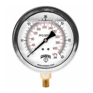 Winters PFQ Series 2 1/2 in. Stainless Steel Liquid Filled Gauge w/ Brass Internals & 1/4 in. Back Mount