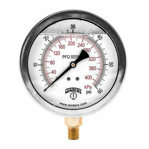 Winters PFQ Series 4 in. Stainless Steel Liquid Filled Gauge w/ Brass Internals & 1/2 in. Bottom Mount