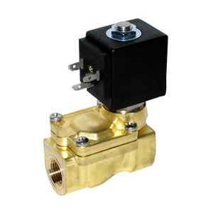 Granzow W Series 3/4 in. High Flow Normally-Closed Brass General Purpose Two-Way Solenoid Valve w/ Buna N Seal - 120 Volt AC