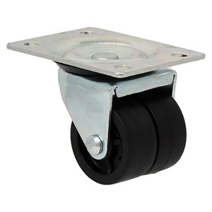 Durable Superior 2 in. x 13/16 in. Light Duty Swivel Casters, Dual Black Polyolefin , Plate Mount