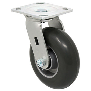 Durable Superior 6 in.x 2 in. Medium Duty Swivel Caster, Balloon Cushion Rubber , Plate Mount