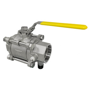 Jomar Valve T-SS-1000N-4B Series 2 in. NPT 3-Piece 4 Bolt Stainless Ball Valve, Swing Out Body, Full Port, Socket Weld Connection w/Drain Tap, 1000 PSI
