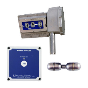 Morrison Bros. Model 1519 Mechanical Tank Top Gauge w/ Standard Float & Level Alarm Relay Output - Up to 25 ft.- Feet & Inches