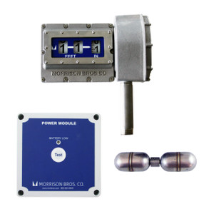 Morrison Bros. Model 1519 Mechanical Tank Top Gauge w/ Vertical Face, Standard Float & Level Alarm Relay Output - Up to 7 m. - Meters & Centimeters