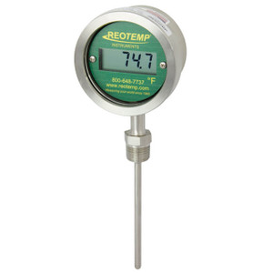 Reotemp DTX Series Direct Mount Sanitary Digital Thermometer, Bottom Mount, Battery Powered