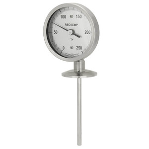 Reotemp AA Series Sanitary Bimetal Thermometer w/3 in. Aluminum Dial, 2 in. Tri-Clamp Connection