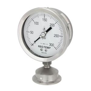 Reotemp SG Series 2 1/2 in. Dial Stainless Sanitary Pressure Gauges w/2 in. Tri-Clamp Bottom Mount