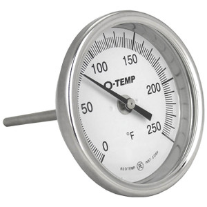 Reotemp O-Temp AO Series Bimetal Thermometers, 3 in. Dia. Dial, Temp. Range 50° to 550°F