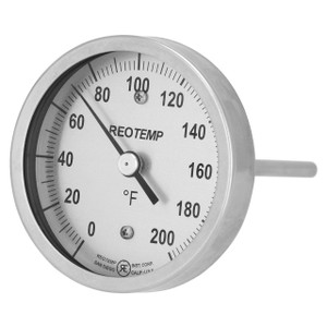 Reotemp B Series Back Connect Bimetal Thermometer, 5 in. Dia. Dial, Temp Range 0° to 250°F