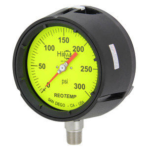 Reotemp PT45 Series Industrial Glycerin Filled Process Gauges, 4 1/2 in. Hi-Vis Dial, Bottom Mount