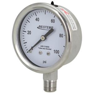 Reotemp PM25 Series Industrial Glycerin Filled Pressure Gauge 2 1/2 in. Dial Bottom Mount