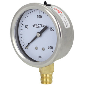 Reotemp PG Series Industrial Stainless/Brass Pressure Gauge Glycerin Filled 2 1/2 In. Dial Bottom Mount