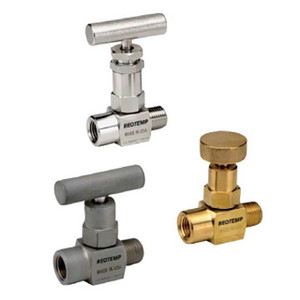 "Reotemp Series M10 Mini Needle Valve, 1/4"" Connection, 6,000 PSI, Carbon Steel"