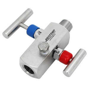 Reotemp Series G20 Double Valve Block & Bleed, 1/2 in. MxF Connection, 10,000 PSI @ 200°F, Stainless Steel