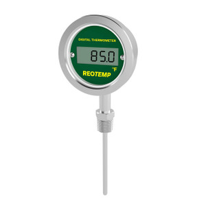 Reotemp DTX Series Direct Mount Industrial Digital Thermometer, No Output, Bottom Connection