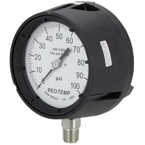 Reotemp PT45 Series Industrial Glycerin Filled Process Pressure Gauges, 4 1/2 in. Dial, Lower Mount