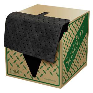 NPS USR-75 Sustayn® 16 in. x 18 in. Universal HW 100% Rec. Sorbent Pads, Black, 100/Box