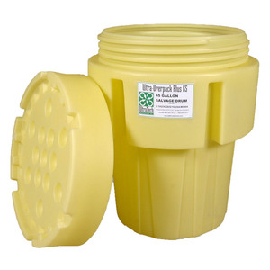 UltraTech 0582 Overpack Salvage Drums, 65 Gallons, Yellow