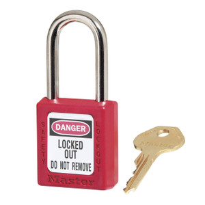 Master Lock 410KARED Red Zenex Thermoplastic Padlock, 1-1/2 in. W w/1-1/2 in. Tall Shackle, Keyed Alike