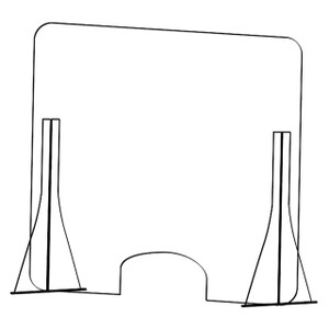 "31 in. W x 31 in. H Stand Mount Barrier/Sneeze Guard w/ Small Cash Window, 1/8"" Polycarbonate"