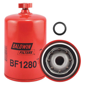 Baldwin Filters BF1280 Spin-On Fuel Filter w/Drain, 13/16 in. Thread, 20 Micron, Case of 12