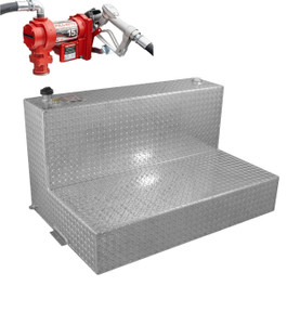 RDS 95 Gallon Aluminum L-Shaped DOT Certified Tank with 15 GPM Transfer Pump