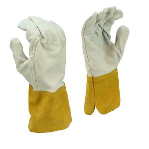 Radians RWG6710 Mig-Tig Select Grain Goatskin Leather Welding Glove, Gray w/ Brown Cuff