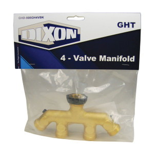 Dixon 3/4 in. GHT 4-Valve Brass Manifold w/ PTFE Seal, (4) Male GH x Female GHT, Retail Packaging