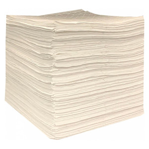 NPS Essentials 15 in. x 18 in. Oil Only Two-Ply SM Medium Weight Sorbent Pads, 100 Count