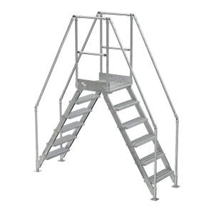 Vestil COL-5-HDG 6 Step Galvanized Cross-Over Ladder, 58-1/4 in. H Underside