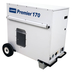 L.B. White Premier 170 Enclosed Flame Ductible 170,000 BTU LP Heater w/Thermostat and Hose