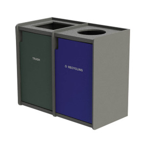 Commercial Zone Earthcraft Series Dual Stream 42 Gallon Raised Edge Top Waste Container & Recycler w/Top Load