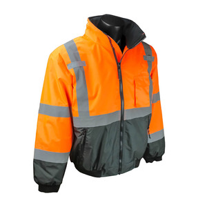 Radians SJ110B Class 3 Two-in-One High Visibility Bomber Safety Jacket, Orange/Black Bottom