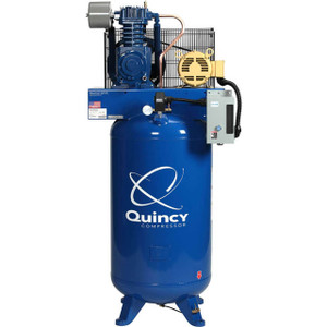 Quincy Compressor 253DS80VCB46 QT Pro Stationary Two-Stage 80 Gallon Air Compressor, 5 HP, Vertical, 460V 3-Phase