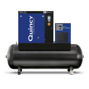 Quincy Compressor QGS 15 HPD-3 Stationary Rotary Screw 60 Gallon Air Compressor w/Dryer, 15 HP, Horizontal, 200/208/460V