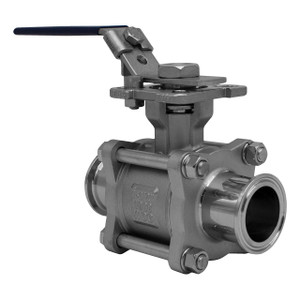Tru-Flo EA-33NF-SN Series 3-Piece 316 SS Tri-Clamp Direct Mount Encapsulated Ball Valves, Full Port