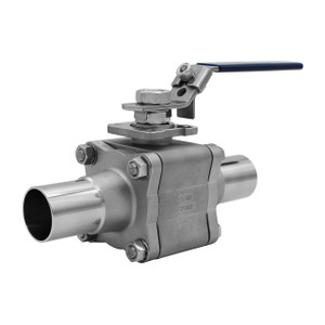 Tru-Flo TF-5309-SN Series SS 3 Pc Enclosed Bolt Body Direct Mount Purity Ball Valve, Full Port w/ Extended Butt-Weld, Teflon Seats
