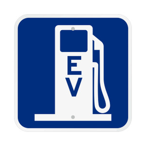 """12"""" x 12"""" Reflective Aluminum Electric Vehicle Charging Station Sign"""